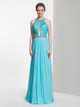 Ericdress Beautiful Beaded Halter Long Bridesmaid Dress