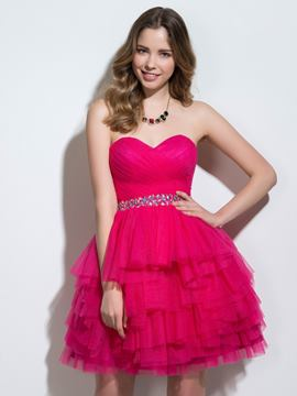 Ericdress Sweetheart a-line Sicke Falten Tiered Cocktailkleid