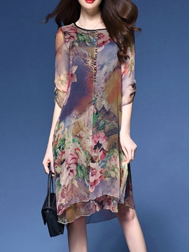 Ericdress Silk Print Loose Casual Dress