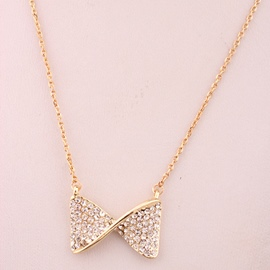 Ericdress Bowknot Diamante Pendant Necklace