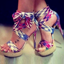 Ericdress Colorful Bowknot Open Toe Rattan Platform Stiletto Sandals
