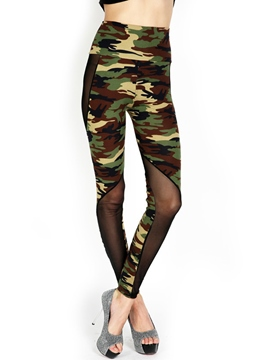 Ericdress Camouflage Hollow Patchwork Leggings Pants