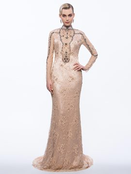 Ericdress High Neck Sheath Long Sleeves Beading Lace Sequins Sweep Train Evening Dress