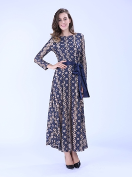 Ericdress Long Sleeve Ankle-Length Print Maxi Dress