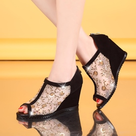 Ericdress Lace Floral Print Patchwork Peep-Toe Wedge Sandals