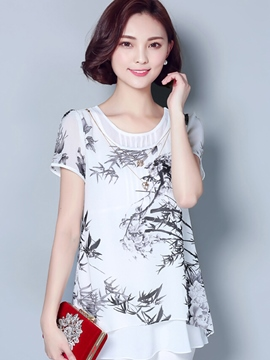 Ericdress Loose Floral Printed Blouse