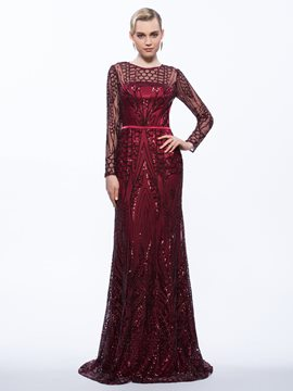 Ericdress Sheath Scoop Long Sleeves Sashes Sequins Sweep Train Evening Dress