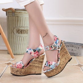 Ericdress Floral Print Open Toe Wedge Sandals