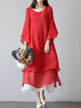 Ericdress Chinese Ethic Solid Color Layered Maxi Dress