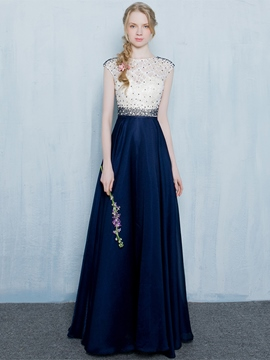 Ericdress A-Line Round Neck Beading Lace Long Evening Dress