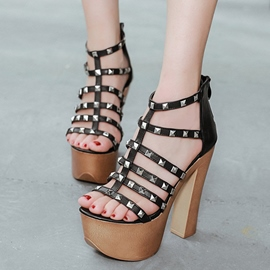 Ericdress Cut Out Rivets Platform Chunky Sandals