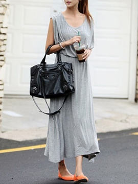 Ericdress Solid Color Korean Style Maxi Dress