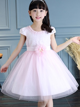 Ericdress Solid Color Short Sleeve Girls Dress
