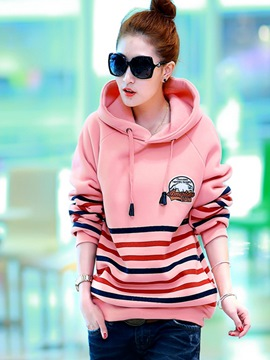 Ericdress Loose Stripped Cool Hoodie