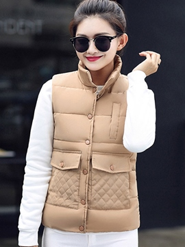 Ericdress Solid Color Pocket Sleeveless Jacket