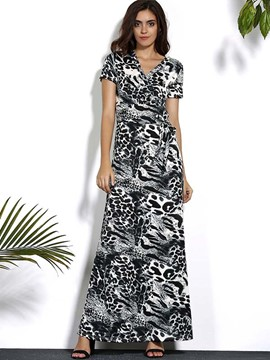 Ericdress Leopard Floor-Length Maxi Dress
