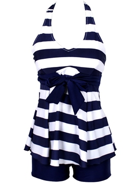 Ericdress Bowknot Stripe Halt Swimwear