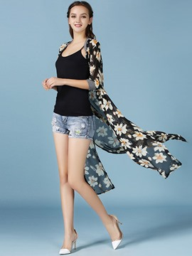 Ericdress Floral Printed Slim Sun Protective Clothing