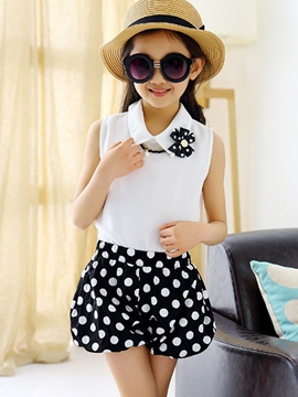Ericdress Polka Dots Girls Shorts Outfit