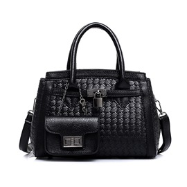 Ericdress Black Weaved Platinum Handbag
