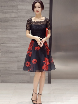 Ericdress Flower Print Lace Patchwork Square Neck Casual Dress