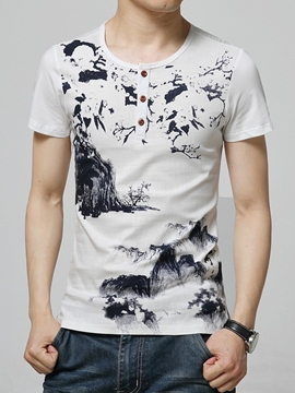 Ericdress Print Cotton Blends Casual Slim Men's T-Shirt