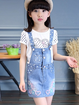 Ericdress Straps Denim Embroidery Print Girls Outfits