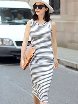 Ericdress Strip Sleeveless Sheath Dress