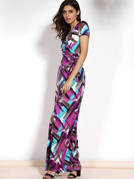 Ericdress European Print Floor-Length Maxi Dress