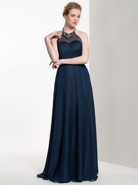 Ericdress Beautiful Beaded Halter A Line Long Bridesmaid Dress