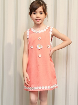 Ericdress Lace-Trim Appliques Sleeveless Girls Dresses