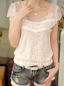 Ericdress Slim Square Collar Lace Blouse