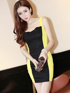 Ericdress Color Block Patchwork Square Neck Bodycon Dress