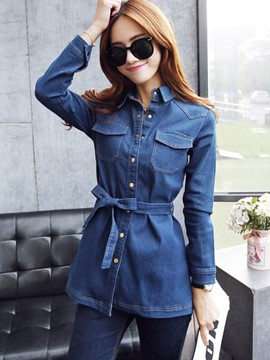 Ericdress Slim Lace-Up Denim Outerwear