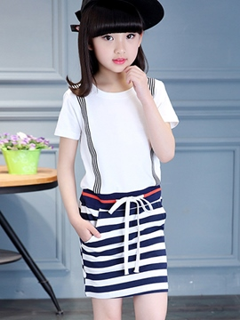 Ericdress Short Sleeve Stripe Girls Dress