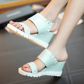 Ericdress Beading Open Toe Platform Wedge Mules?Shoes