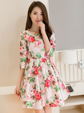 Ericdress Ladylike Floral Print Casual Dress