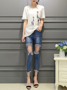 Ericdress Ripped Jeans Suit
