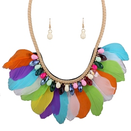 Ericdress Bohemia Colorful Feather Jewelry Set