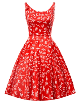 Ericdress Vintage Print Sleeveness Skater Casual Dress