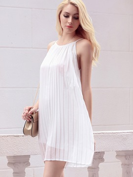 Ericdress European Soild Color Pleated Casual Dress