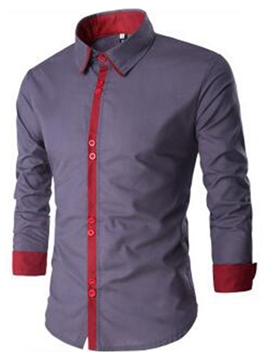 Ericdress Single-Breasted Slim Casual Men's Shirt