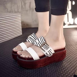 Ericdress Zebra Print Buckle Slippers