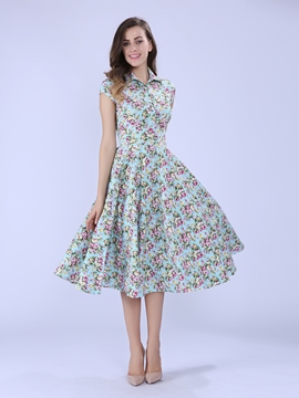 Ericdress Light Blue Floral Casual Dress