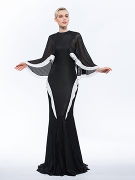 Ericdress Jewel Trumpet Long Sleeves Hollow Ruffles Sweep Train Evening Dress