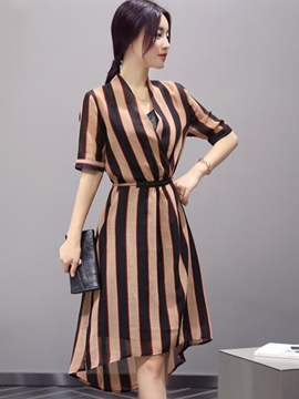 Ericdress Asymmetric Stripe Short Sleeve Casual Dress