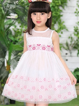 Ericdress Sleeveless Lace-Up Patchwork Girls Dress