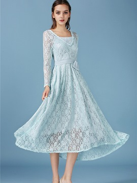 Ericdress Soild Color Blue Long Lace Dress