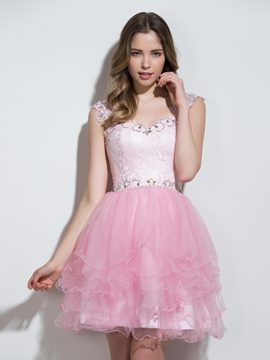 Ericdress Sweetheart a-line Cap Sleeves Crystal Lace abgestufte Mini Cocktailkleid