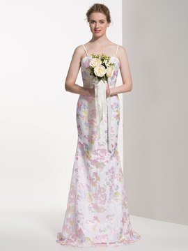 Ericdress Beautiful Printed Long Bridesmaid Dress